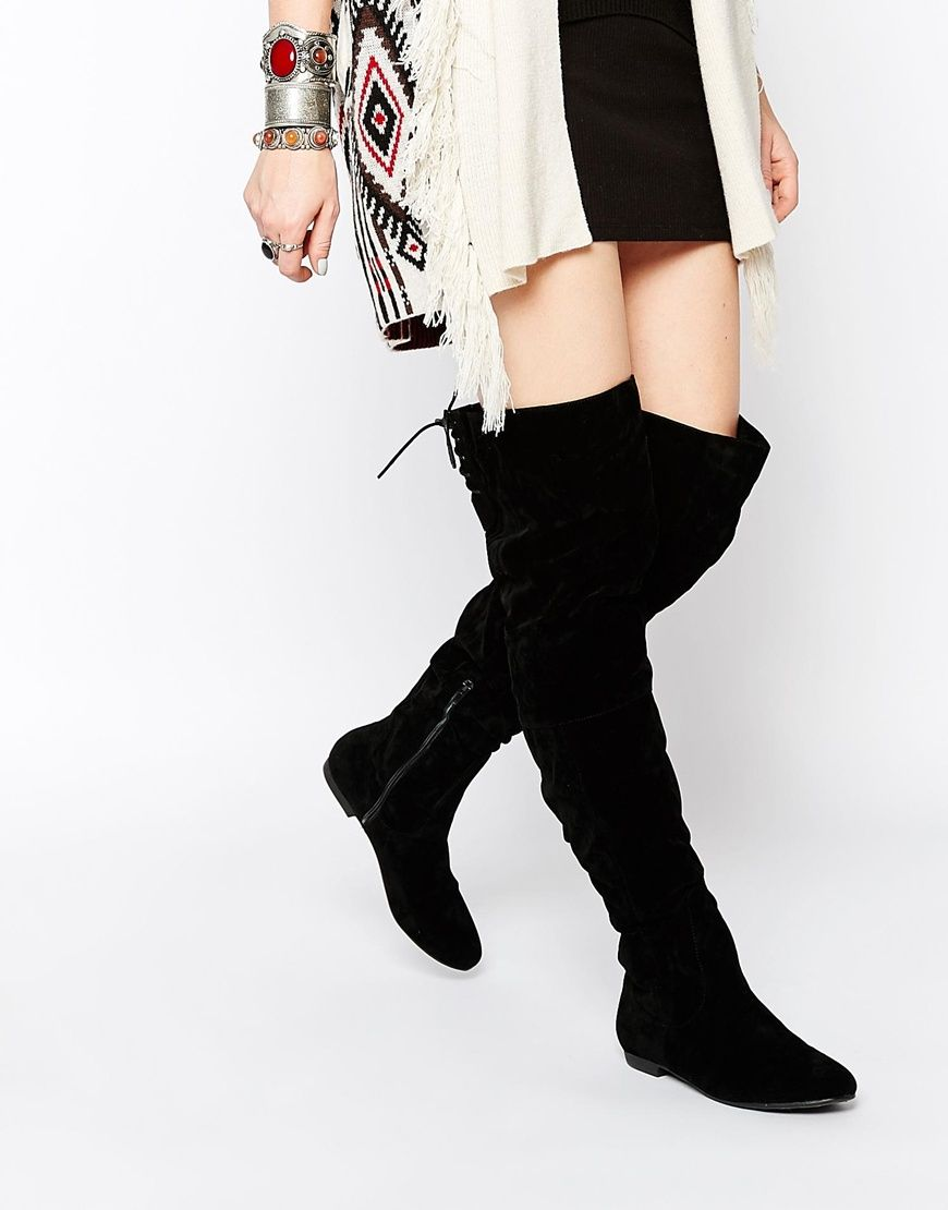 Image 1 of Daisy Street Black Over The Knee Tie Back Flat Boots