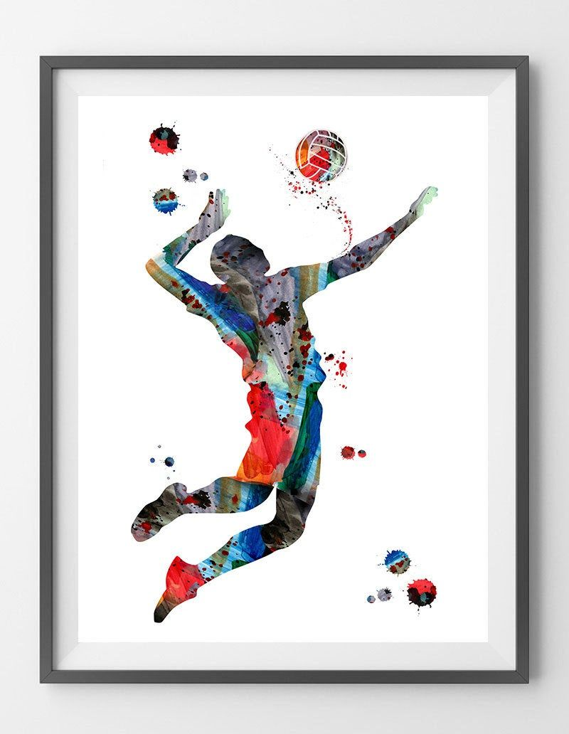 Volleyball Player Watercolor Print Volleyball Spiking Poster Etsy Watercolor Print Sports Art Art