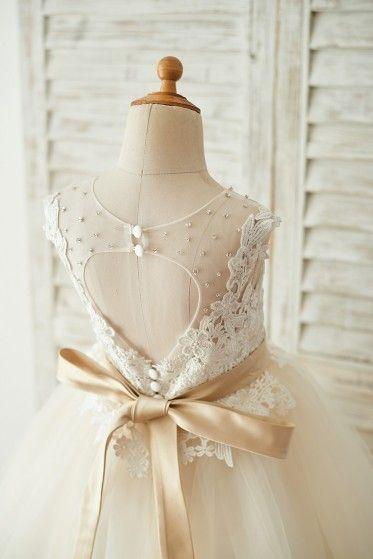 6e645167af Princessly.com-K1003676-Ivory Lace Champagne Tulle Keyhole Back Wedding  Party Flower Girl Dress with Belt-31