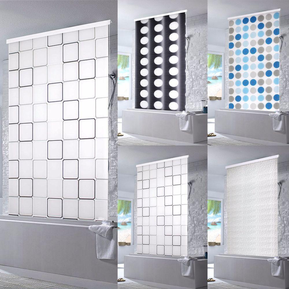 Moderne dusche mit duschvorhang  Details zu Halb-Kassetten Duschrollo Duschvorhang Dusche Rollo ...