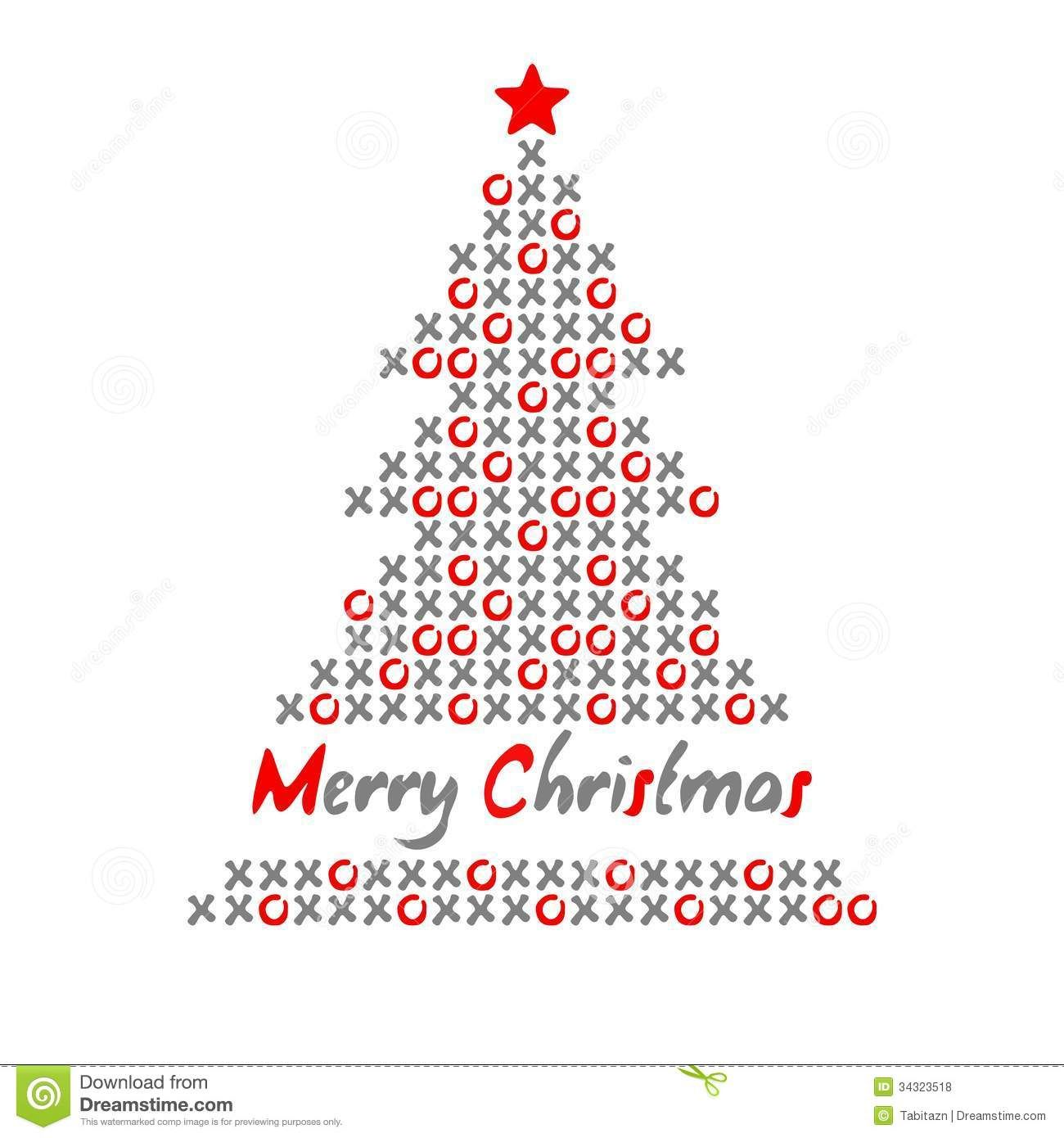 Modern Christmas Tree Card With Noughts and crosses, Illustration Stock  Illustration - Image: 34323518