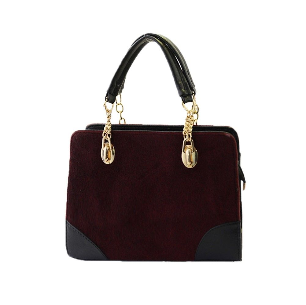 Only €8.21, (30cm<max length<50cm) burgundy New Fashion Women Handbag Faux Fur PU Leather Shoulder - Tomtop.com