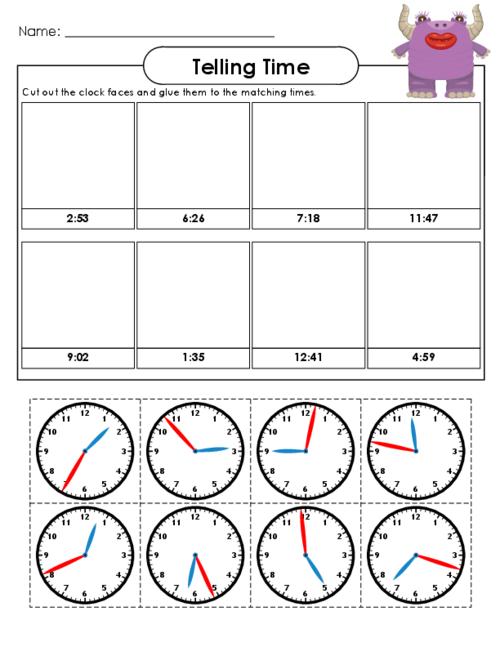 cut out and match clocks 3 math clock worksheets telling time worksheets for kids. Black Bedroom Furniture Sets. Home Design Ideas