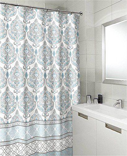 Teal Grey White Canvas Fabric Shower Curtain Floral Dama Https Www Amazon Com Dp B01mv2l Fabric Shower Curtains Shower Curtain Art Coastal Shower Curtain