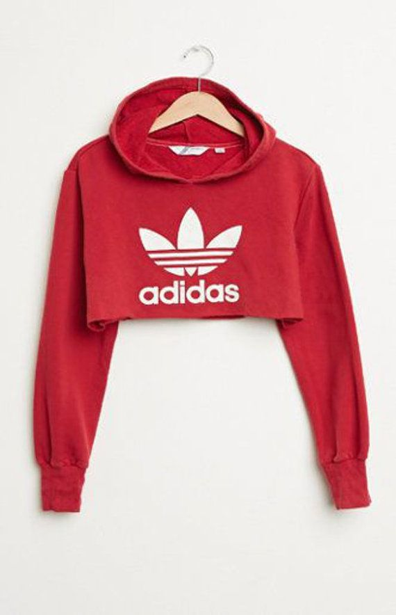 8f830d4e8393 Womens Red Adidas Crop Top Hoodie Hand Made 100% Cotton PLEASE CONTACT  CUSTOMER SERVICE PRIOR TO ORDERING IF YOU HAVE ANY ADDITONAL QUESTIONS