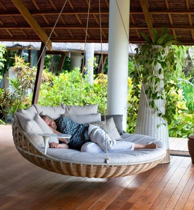 heck yeah i need a huge cushioned for my back porch i want to take a nap - Wicker Porch Swing