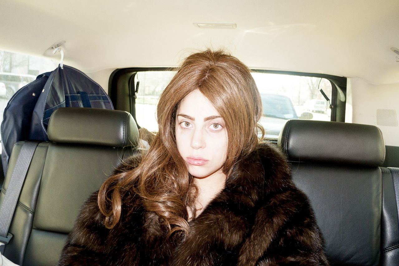 Lady Gaga on the way to the hotel.