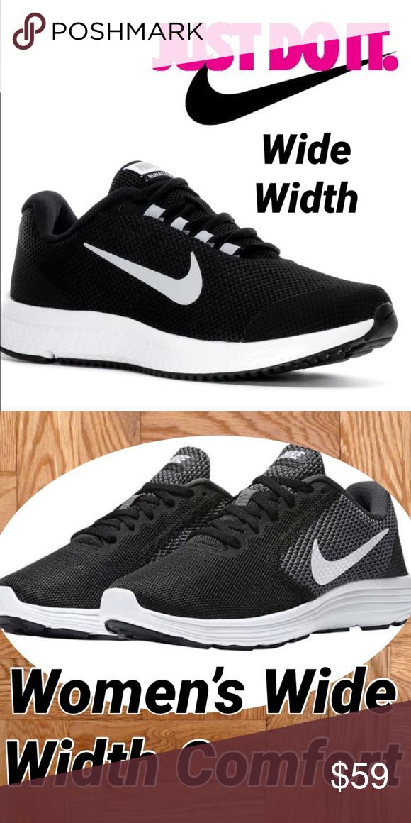 New Women s Nike Sneaker in Wide Width ❤ ❤ ❤ ❤ ❤ Beautiful in Black with  White in a Nike sneaker 👟 that comes in wide width. acf0d258fc