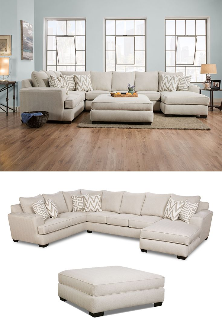 Colonist Oatmeal Sectional With Chaise By Corinthian In
