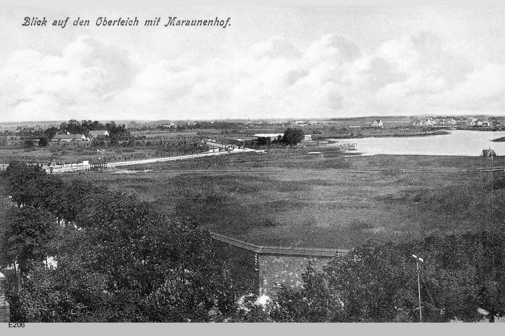 Königsberg Pr. Blick auf den Oberteich mit Maraunenhof