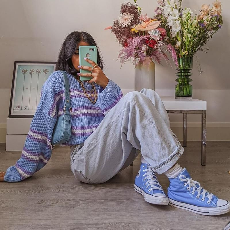 90S AESTHETIC STYLE KNITTED SWEATER - M / Blue