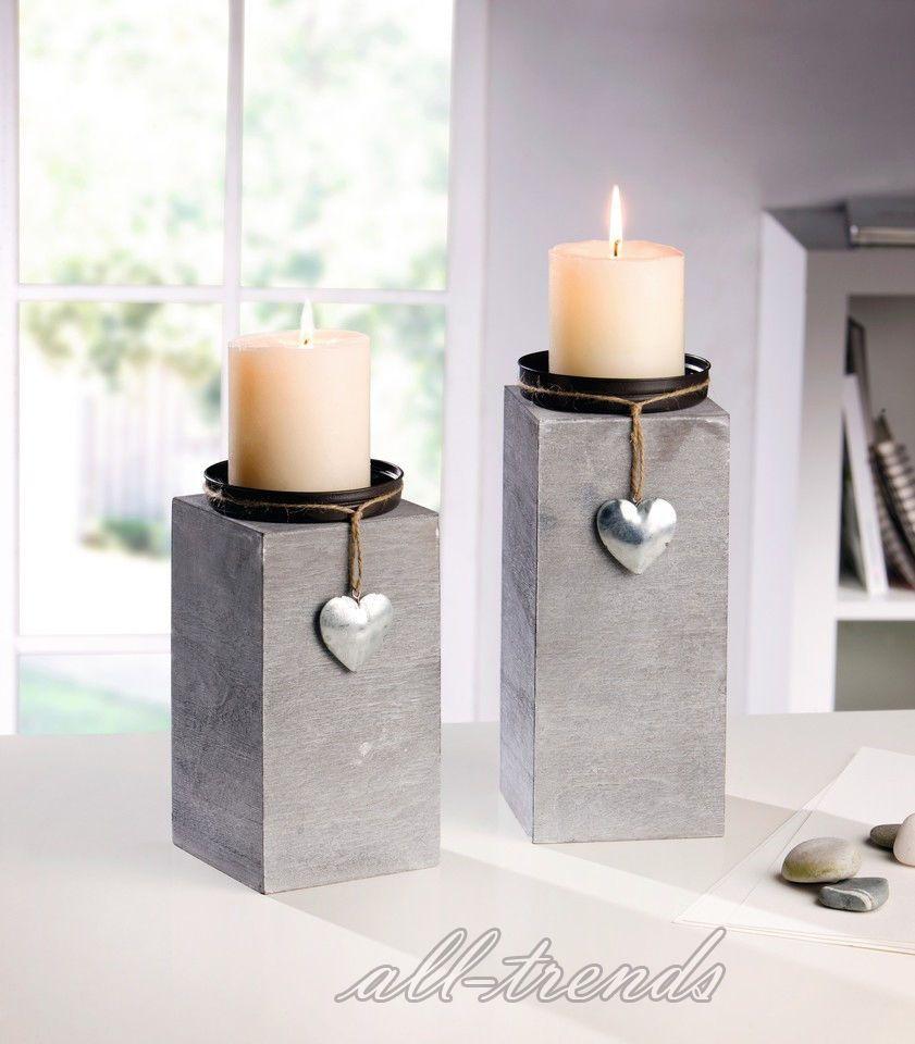 details zu 2er set dekosäule kerzenhalter silber herz kerzenständer