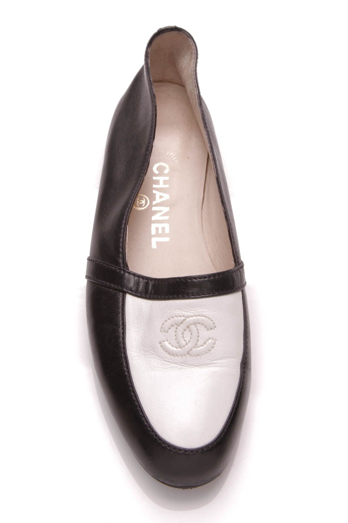 5fc99261dbc Chanel Two Tone Loafer Flats - Navy and White Lambskin