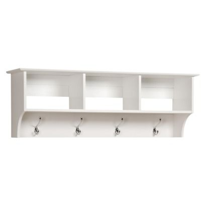 Monterey Entryway Cubbie Shelf with Coat Hooks - White to hang backpacks in  laundry room, - Monterey Entryway Cubbie Shelf With Coat Hooks - White To Hang