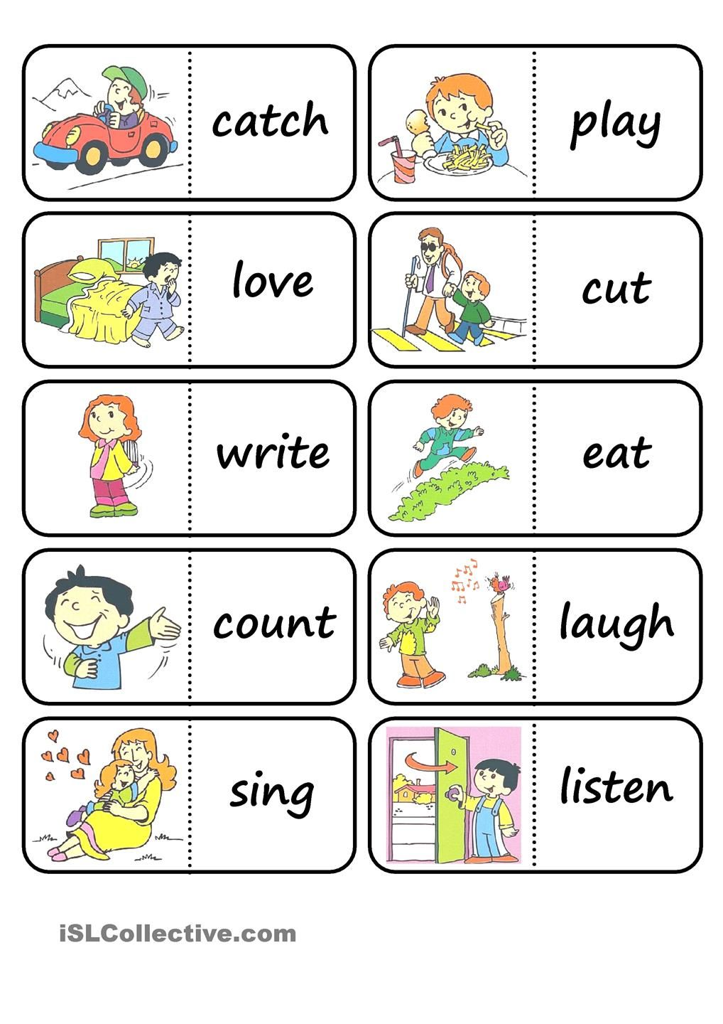 verb dominoes | Speech Therapy - verbs | Pinterest