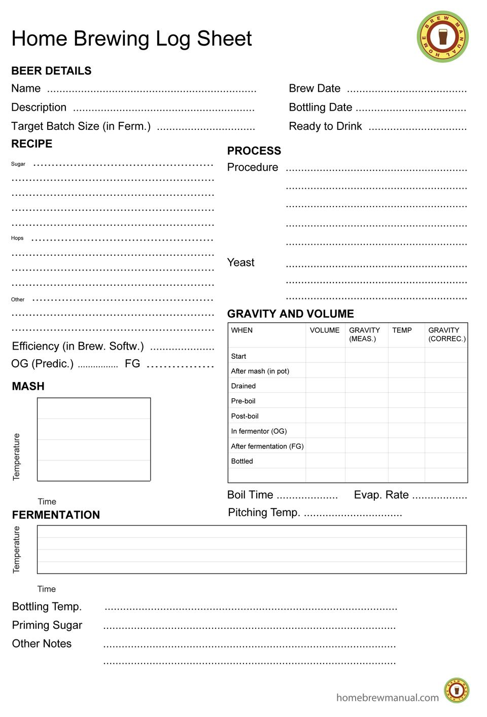 Home brewing log sheet craftbeer beer craft beer for Wine tasting journal template