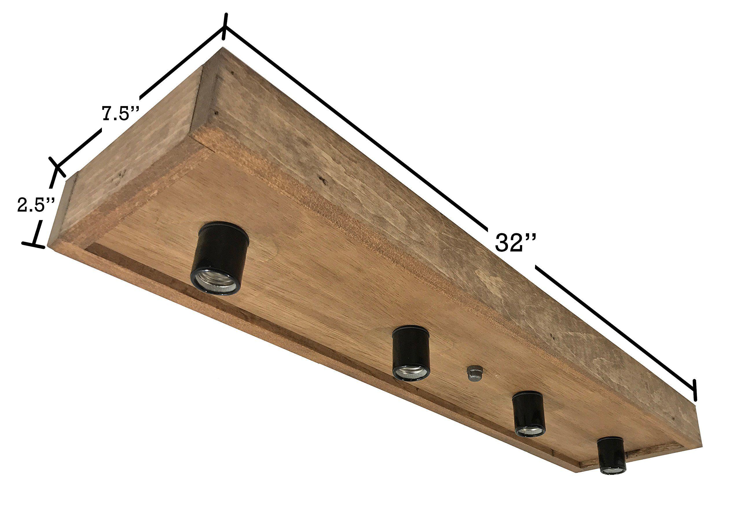 Flush mount farmhouse style light fixture real wood