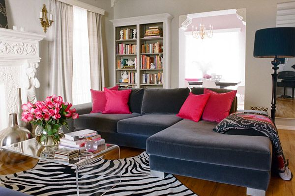 Pink And Gray Living Room, Lucite Coffee Table, Zebra Rug, With Built In  Bookshelf Inspiration