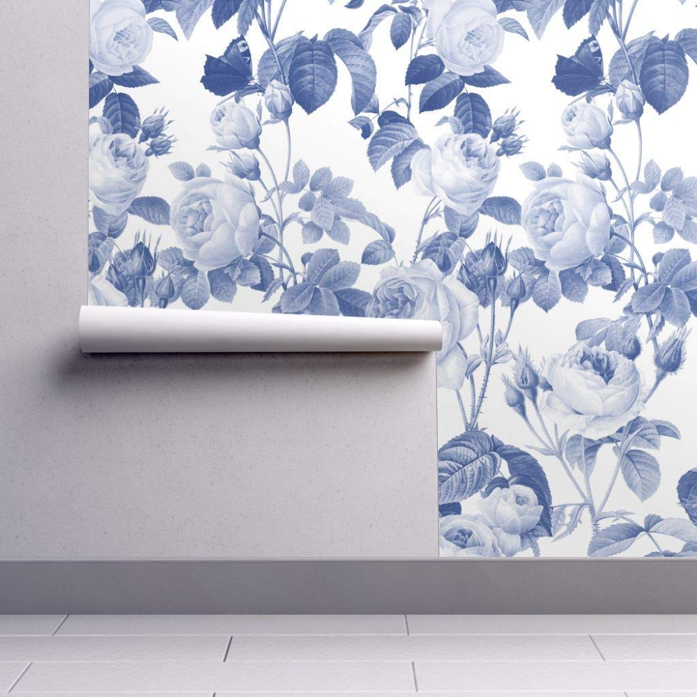 Peel And Stick Removable Wallpaper Blue Floral Shabby Chic