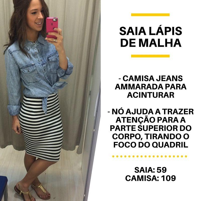ac107e47b4c0 saia lápis listrada renner + camisa jeans ==== striped skirt + denim shirt