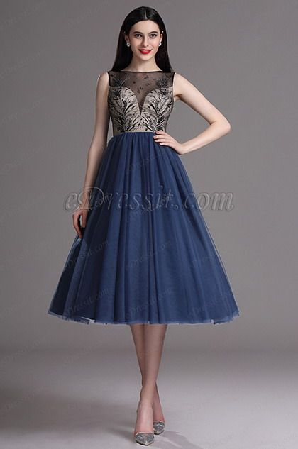 7756499f76 Blue Embroidery Tea Length Formal Party Dress (04162305) in 2019 ...