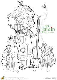 Coloriage Jardin Facile.Coloriage Jardin Fleurs Jardin Jardinage Coloriage Et Coloriage