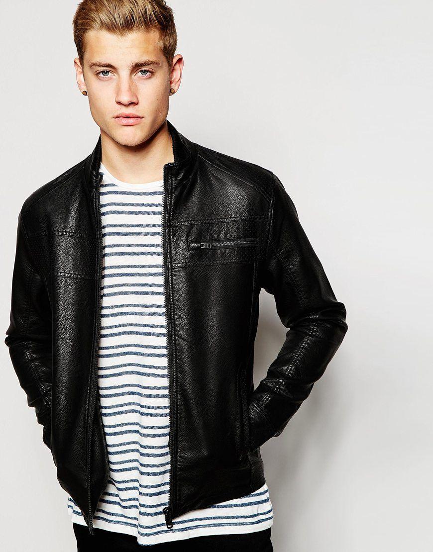 Leather jacket jack and jones - Jack Jones Faux Grained Leather Jacket