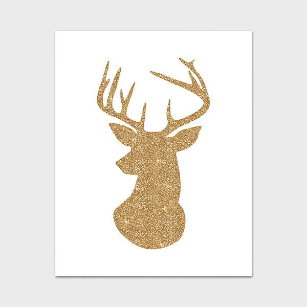 Deer Printable, 8x10, Instant Download Deer Art Print Deer Wall Art Deer  Head Art