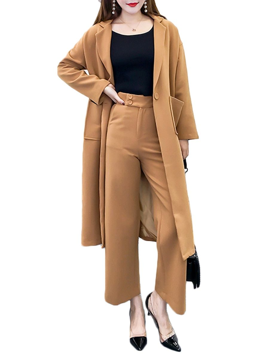 Women Office Jacket Long Sleeve 2pcs Suit Set Cardigan Outfit for Lady with High Waist Pant