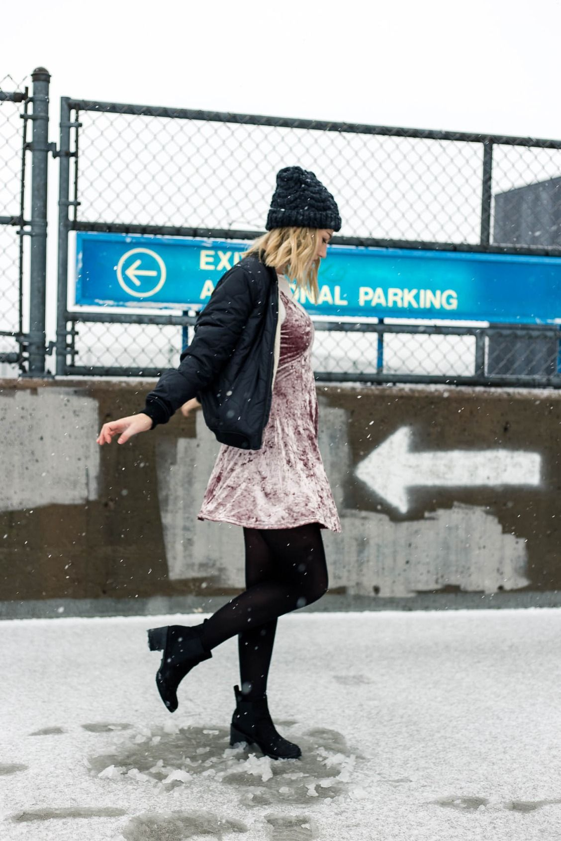 Slip a velvet dress over your favorite tee & tights for winter-ready #AEOSTYLE. Photo: @victoriaajoyce & @maxspoonedher