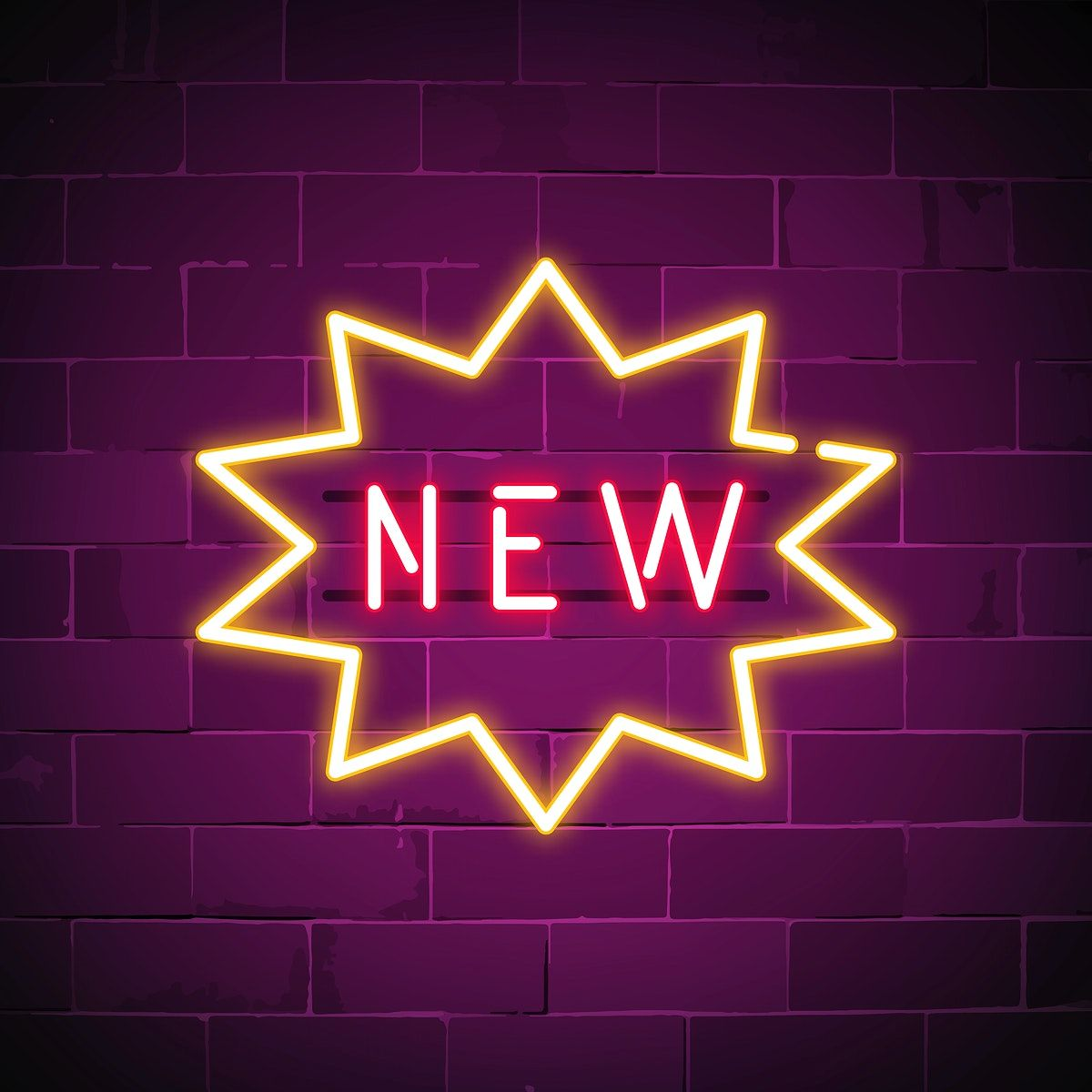 New in shop neon sign vector free image by