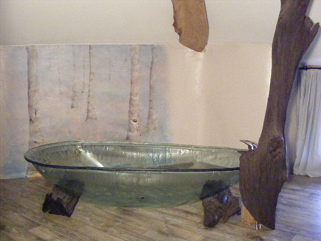 Glass Bathtub hobbit house, the hexagon house. some pictures of the house and