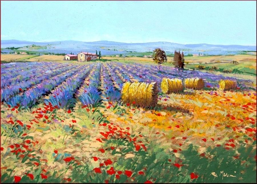 Italian Landscape 50x70 by Gino Masini  art work  Lavendar painting Watercolor landscape Watercolor art