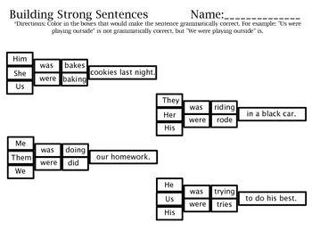 building strong sentences pronoun verb agreement activity 3rd grade esl lesson plans esl. Black Bedroom Furniture Sets. Home Design Ideas