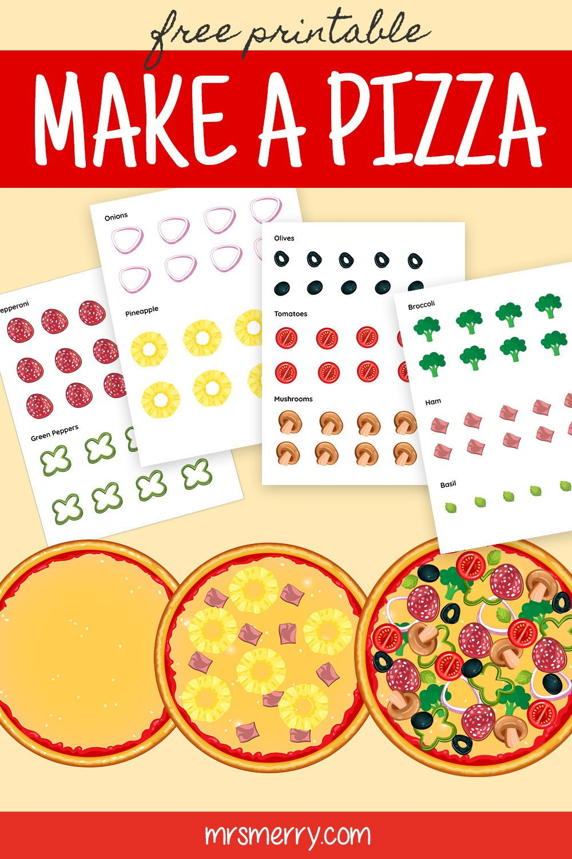 Free Kids Printable Make A Pizza Free Kids Activity Mrs Merry Printables Free Kids Diy Crafts For Kids Easy Free Activities For Kids [ 1500 x 1000 Pixel ]