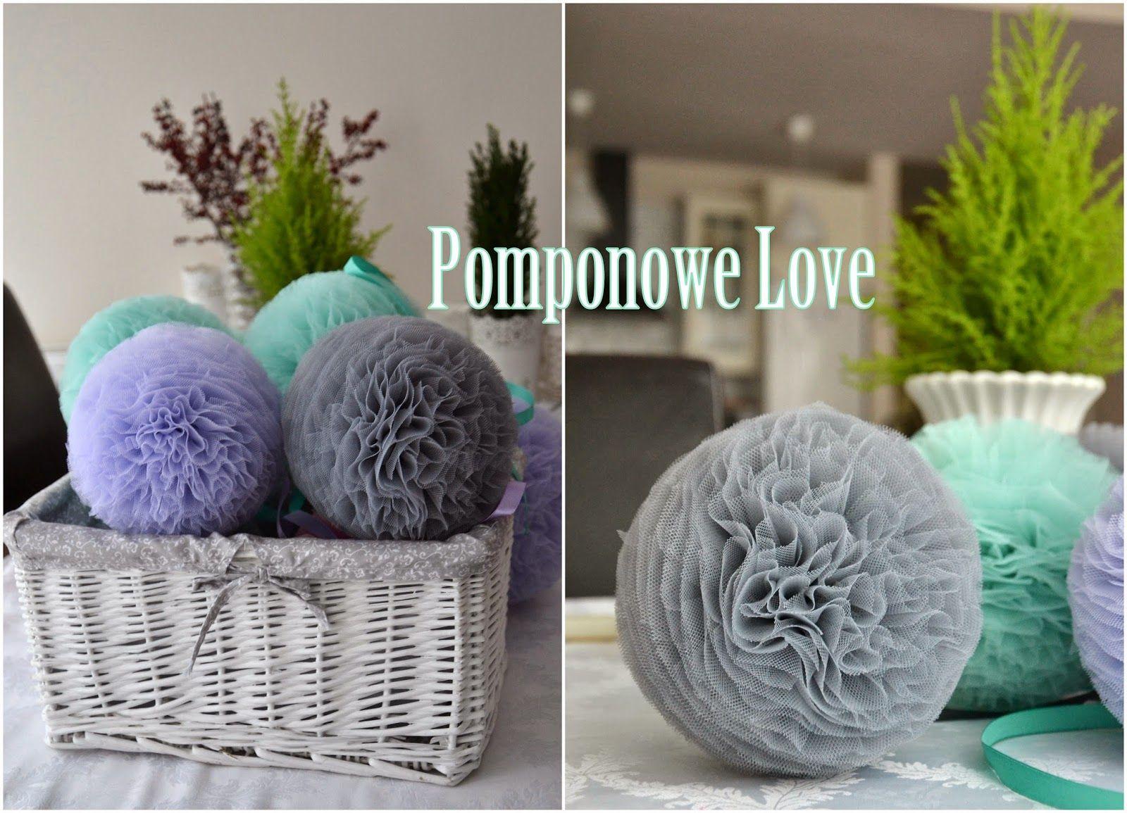 Pomponowe Love Pompony Tiulowe Dekoracja ścian Pomponami Z