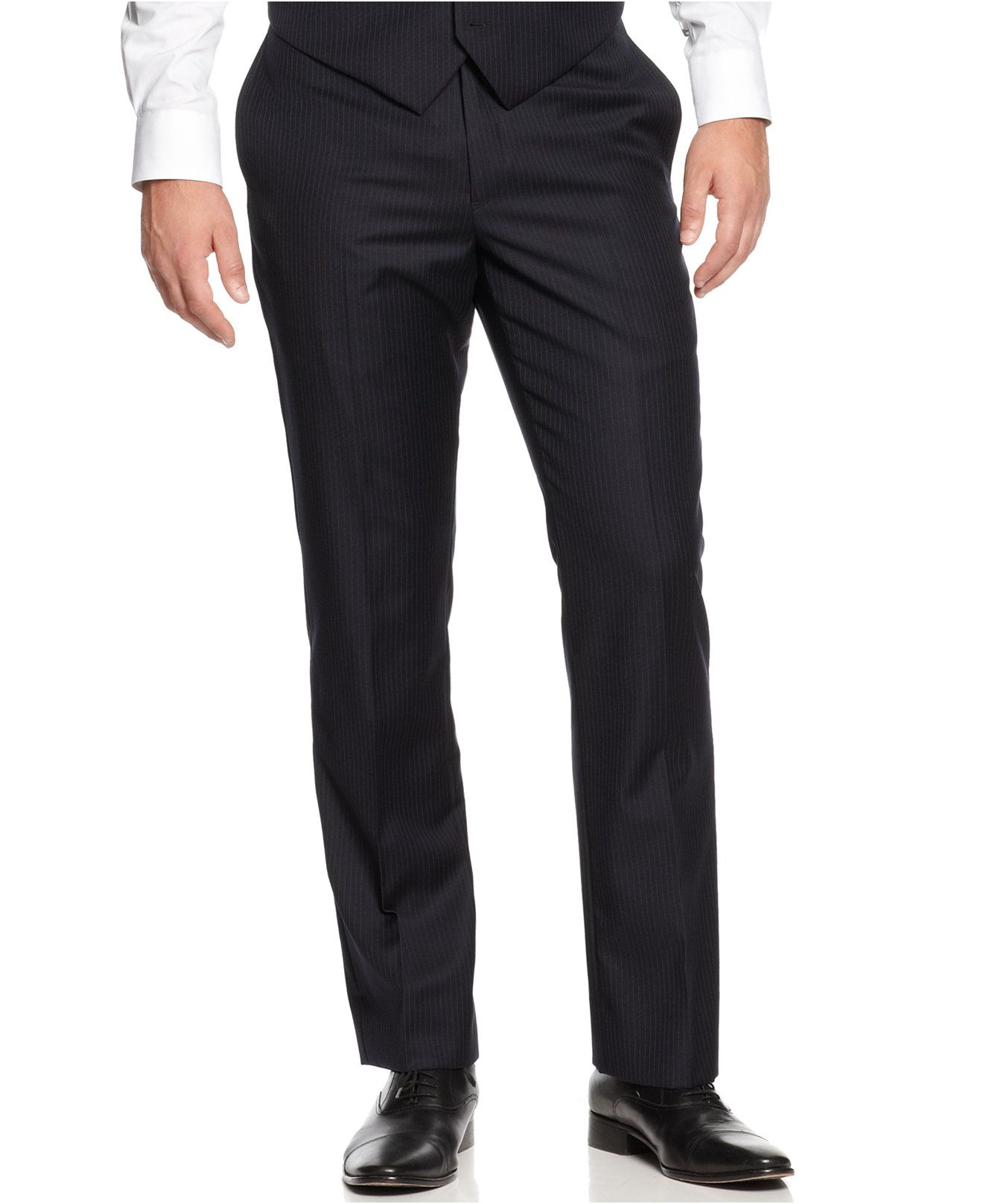 Tommy Hilfiger Navy Tonal Stripe Trim-Fit Pants
