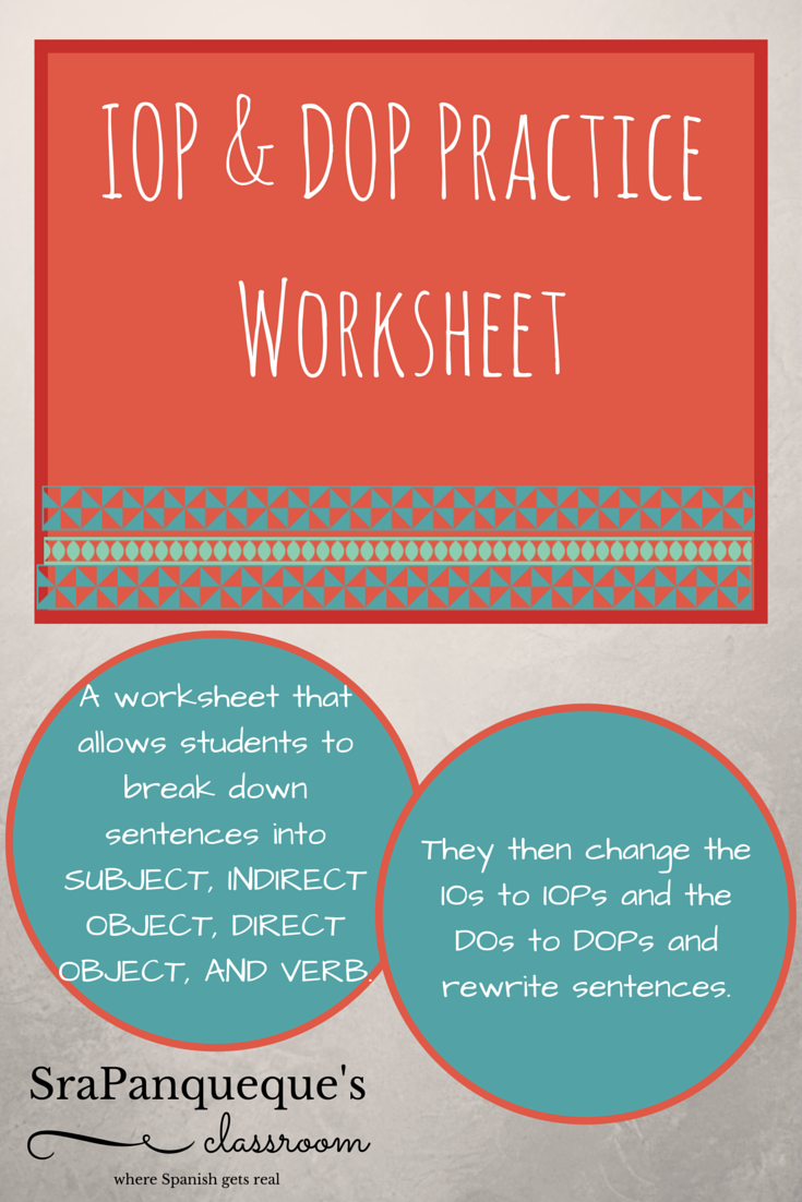 Indirect / Direct Object Pronoun Practice Worksheet or Game ...