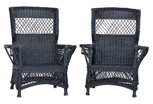 Wicker Wingback Chairs Mickey Mouse Table And Uk Bar Harbor Pair Classical Vintage