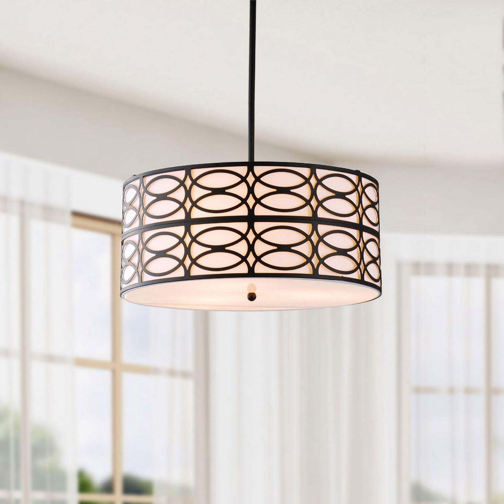 Indoor 3 light Black Pendant Chandelier Glass