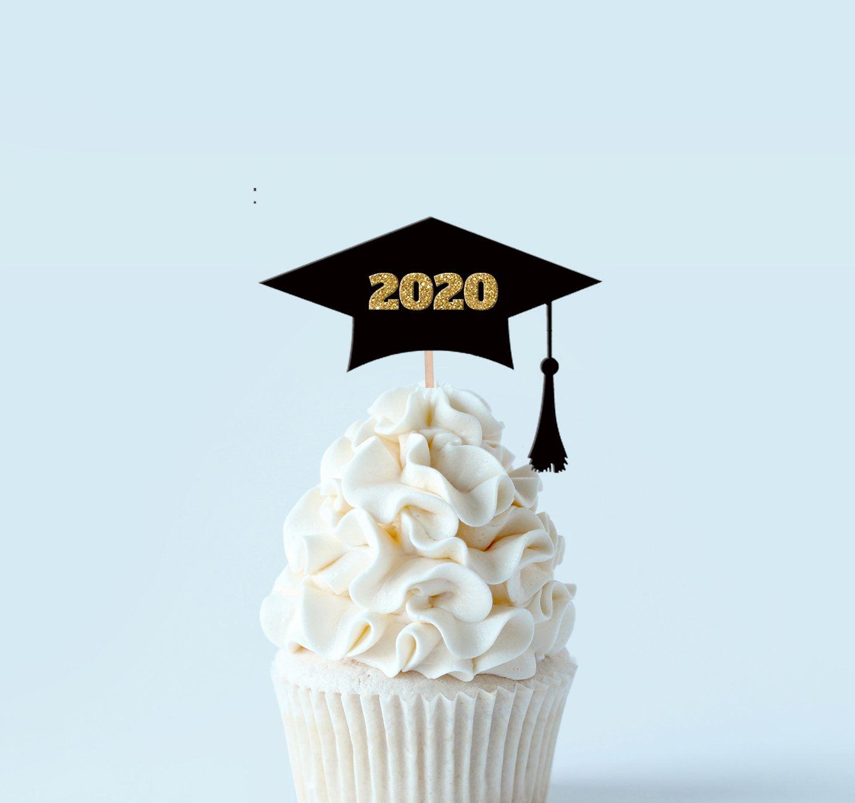 Grad Cap Toppers Highschool Graduation Graduation Cupcake Toppers Congrats Grad