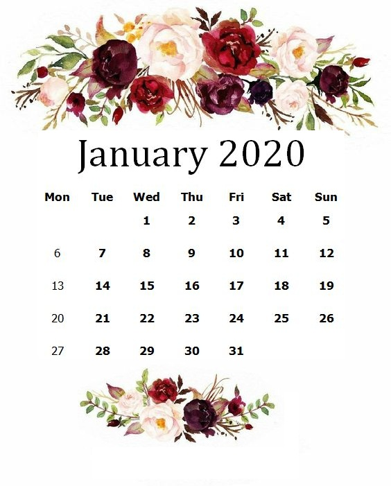 Cute January 2020 Calendar – Free Printable Template ...