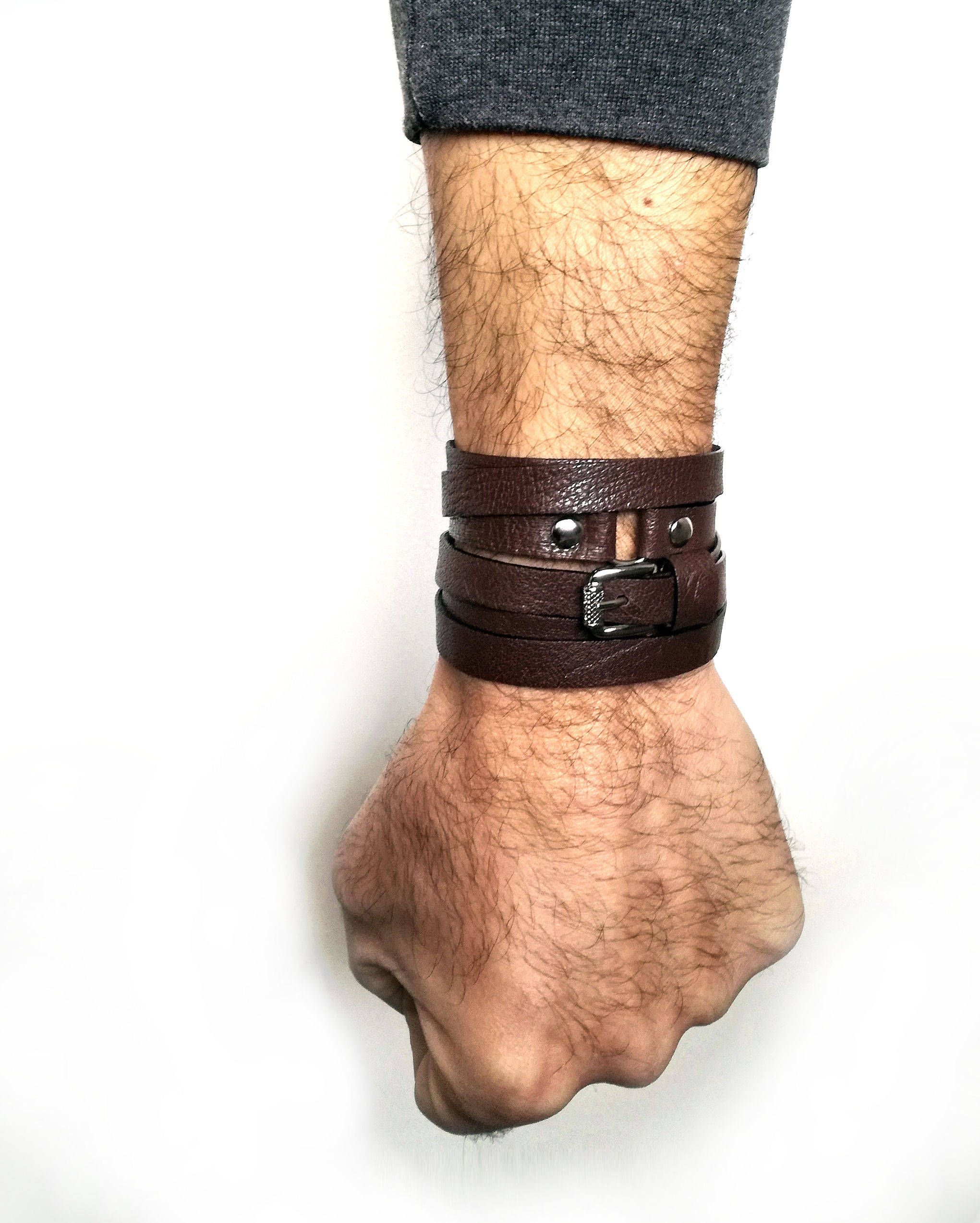Mens wrapped leather bracelet, brown cuff, multi wrap leather cuff, gift for him, cuff with buckle mens leather cuff wrap bracelet