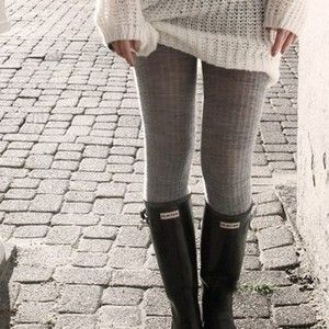 Sweater tights and rainboots, cozy