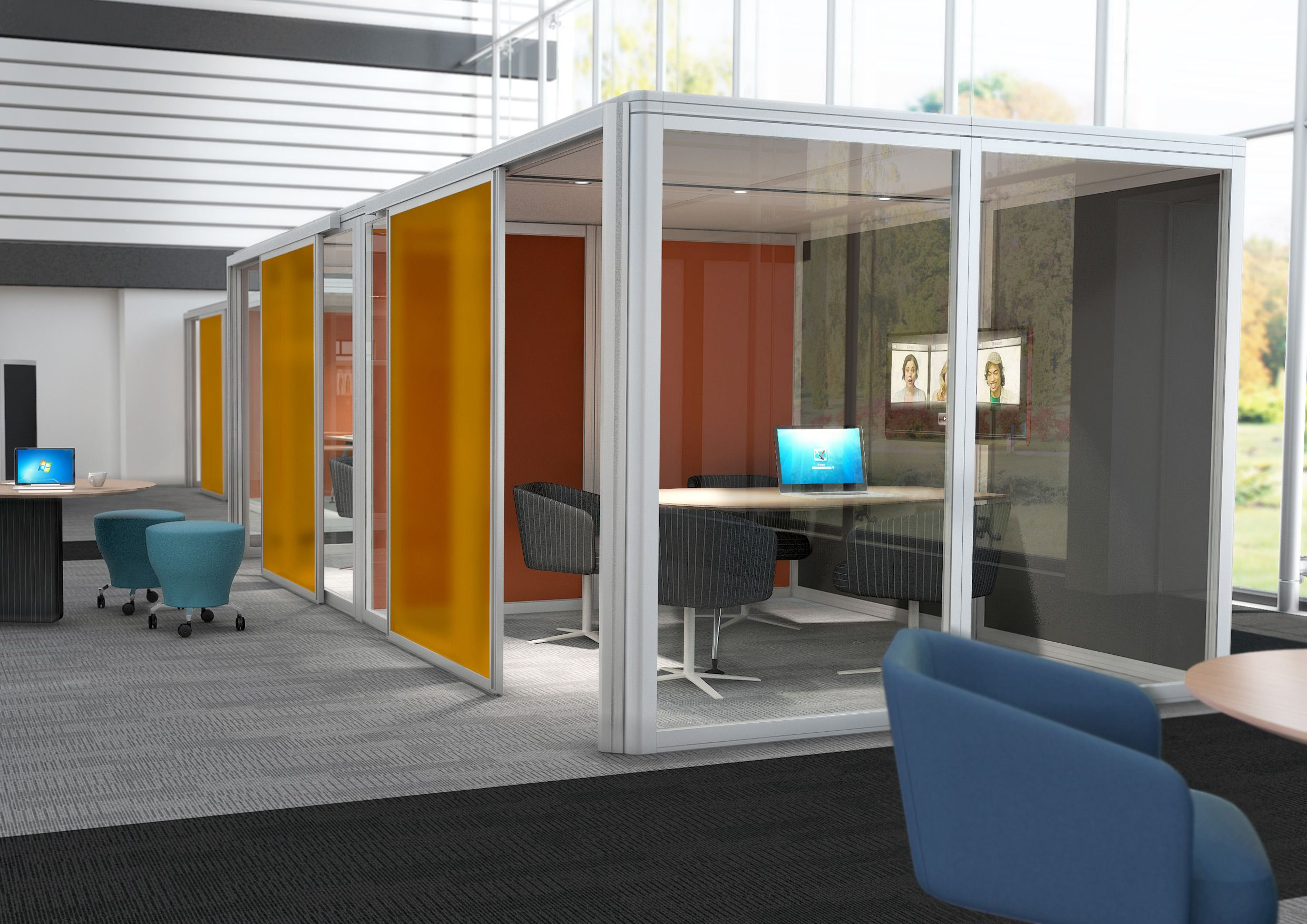 The Airea acoustic pod provides an alternative solution for a variety of private spaces ranging from a phone booth to a video conference room as well as general meeting rooms.