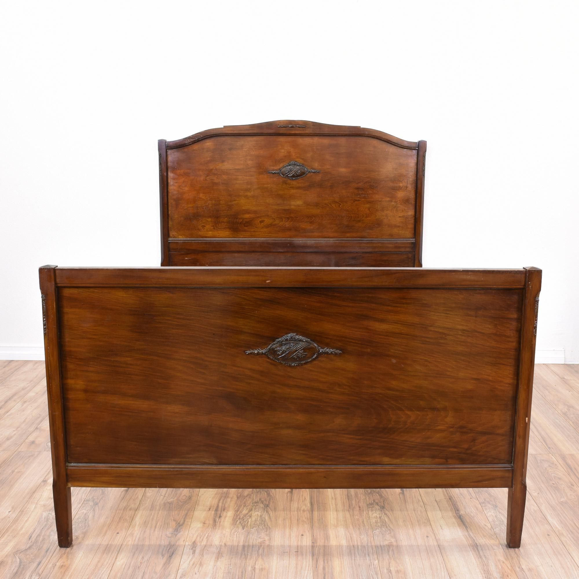 This Antique Bed Is Featured In A Solid Wood With A