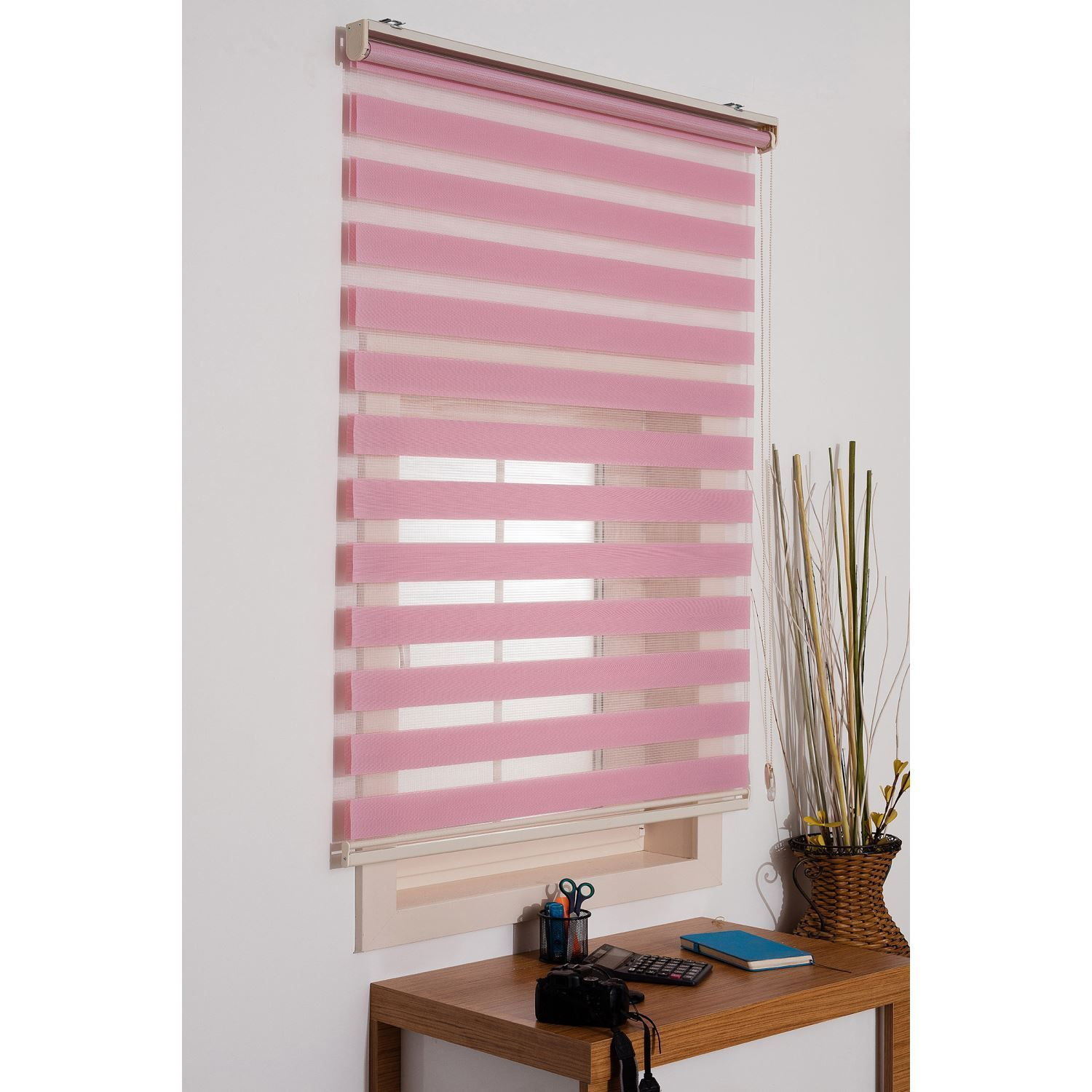 Powder Home Free Stop Cordless Zebra Roller Shades Combi Blind Curtain Drape Dual Layer Sheer Or Priv Curtains With Blinds Living Room Blinds Wooden Blinds