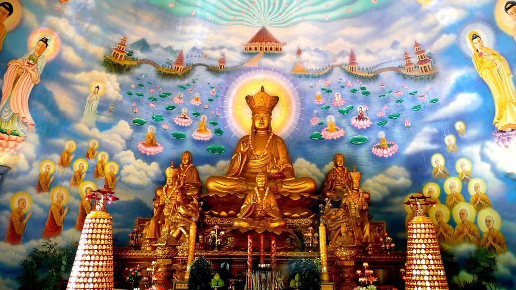 Vietnam Buddhist temple mural & statue of Kshitigarbha