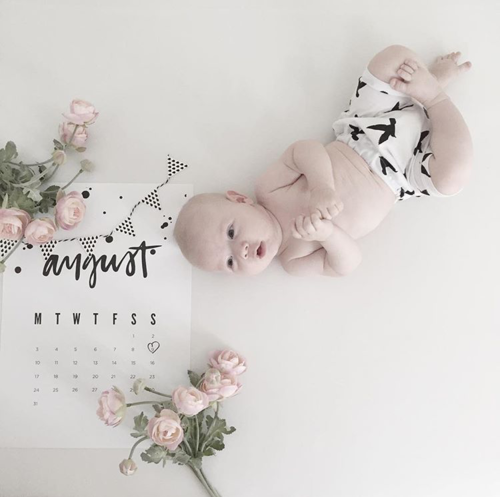 Simple monthly baby photo ideas including using what you have, add text to the photo using a free site and using printable calendars