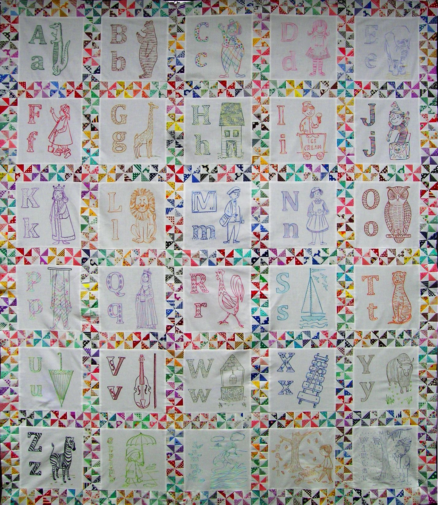 Alphabet Quilt .. with links to patterns for each letter's block ... : quilt embroidery patterns - Adamdwight.com